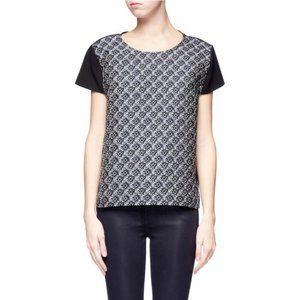 MAJE Black & Navy Dada Diamond Jacquard Silk Top